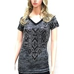 Rhinestone Geometric Pattern Burnout Style Shirt