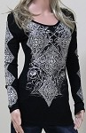 Ladies Long Sleeve Embellished Diamond Pattern Shirt