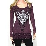 Long Sleeve Embellished Shirt with Crochet Bottom Hem