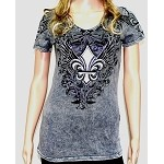 Grey Fleur de lis Rhinestone Wings and Swirls Shirt