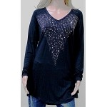 Ladies Black Tunic Shirt with Bling by Vocal Plus Size
